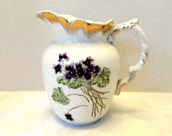 Vintage Victorian Water Pitcher Off White and Violet Purple Flowers Circa 1893//Milk Pitcher//Table Deco//Drinkware//