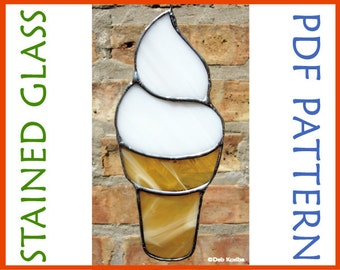 Easy Ice Cream Cone Stained Glass Pattern / Easy Stained Glass Pattern Ice Cream Cone / Ice Cream Cone Stain Glass Pattern PDF