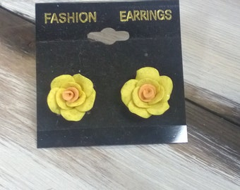 Hand Made Polymer Clay Post Earring Roses