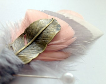 OMBRE Feather Boutonniere in Ivory, Blush, Grey and Coral with Brass Feather