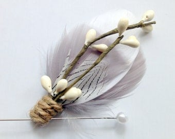 COHEN Feather Boutonniere in Grey and White with Twine and Ivory Millinery Berries