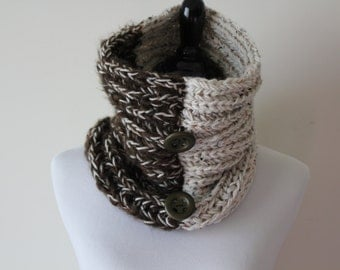 Knitted Circle Oatmeal, Brown Neckwarmer / Cowl