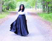 "Size 26 -38  Plus Size Maxi Skirt / Women plus size High Waist /  41- 42"" L"