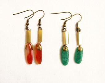 Amazonite Dangle Earrings, Geometric Brass Earrings, Mineral Earrings
