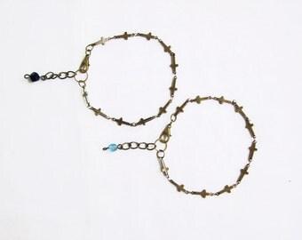 Sideways Cross Bracelet, Tiny Side Cross Bracelet, Adjustable Cross bracelet, Unisex Bracelet