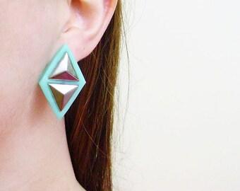 Pyramid Stud Earrings, Mint Geometric Earrings, More Colors Available