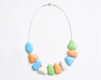 Mint Pastel Statement Necklace in Mint Peach White Blue, Polymer Clay Gem Necklace, Gem Candy Collection