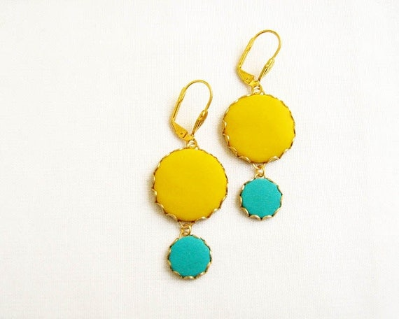 Blue Yellow Statement Earrings - Handmade Polymer Clay Bubble Earrings - Color Dot Collection
