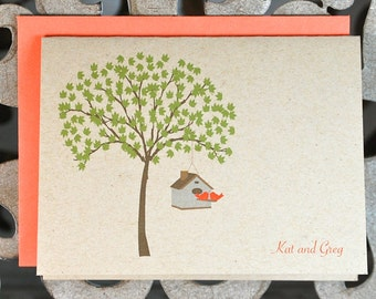 Wedding Thank You Cards, Love Birds, Lovebirds, Love Birds Wedding Thank You Cards, Thank You Cards, Bridal Shower, Trees, Outdoor Wedding