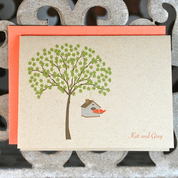 Wedding Thank You Cards, Love Birds, Lovebirds, Love Birds Wedding Thank You Cards, Thank You Cards, Bridal Shower, Trees, Outdoor Wedding