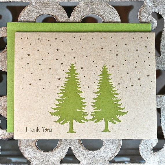Stars, Christmas Thank You Cards, Thank You Cards, Note Cards, Thank You Notes, Trees, Christmas Cards