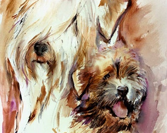 Soft Coated Wheaten Terrier - wheaten -Watercolor Fine Art dog Print SIGNED by the artist Carol Ratafia DOUBLE MATTED to 16x20