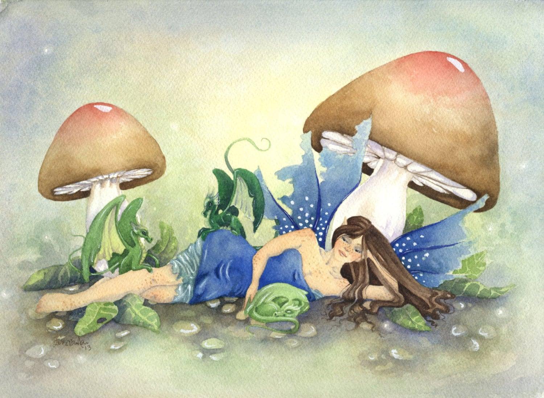 Fairy art original watercolor painting babysitting dragons for Peinture mural original