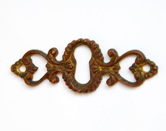 FREE SHIPPING Authentic Original Vintage Antique Brass KeyHole Escutcheon E1093