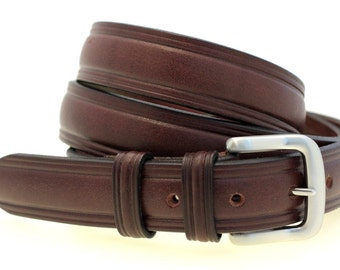 "Made In America 1 1/4"" Men's Domed Belt Sunset Brown Harness Leather Double Loops"