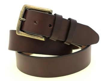 """1 1/2"""" Dark Brown English Bridle Leather Belt Plain With Double Loops And Square Antique Brass Buckle Made In USA"""