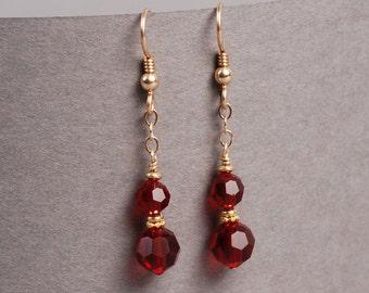 Swarovski Crystal Earrings - Red Crystal Earrings - Siam Earrings - Dangle Earrings
