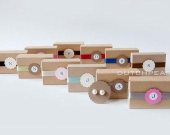 8 SETS  - Genuine pearl earrings in monogram gift box for bridesmaids - personalized - initial - custom - handmade wedding jewellery