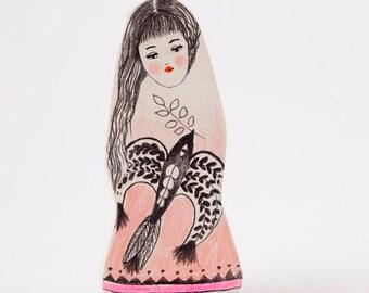 Miniature Bird, Girl Figurine, Air Dry Clay Brooch, Handmade Art Shop, Pale Pink Pin, Pencil Drawings, Whimsical, Folk Inspired, Europe