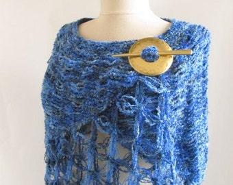 Capelet Oversized ,blue bolero,blue shawl