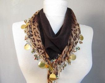 Brown scarf , leopard scarf ,Turkish women scarf - cotton woman scarf - fabric scarf , cotton scarf , woman scarves