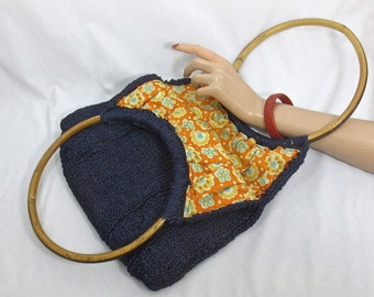 Vintage 1960's WALBORG Blue Woven Raffia Purse by w/ Round Bamboo Handles Made in Italy