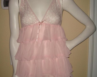 Strawberry Sorbet Tiered  Lace Linjerie Night Gown for Honeymoon Valentines Day