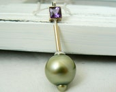 12.5 mm Tahitian Pearl Pendant with Amethyst - Silver and 14k Solid Yellow Gold - VirginieMartinStudio