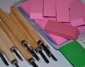 DESTASH-make your own stamps kit with erasers and carving tools SALE