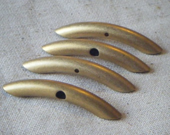 Raw Solid Brass Macaroni Tube Beads (4) Patina, Industrial