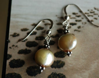 Champagne Coin Pearl set in Sterling Silver