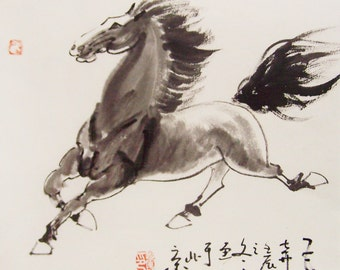 original horse painting chinese painting ink painting  oriental art chinese art -galloping horse No.7