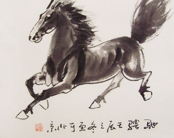original horse painting chinese painting ink painting  oriental art chinese art -galloping horse No.11