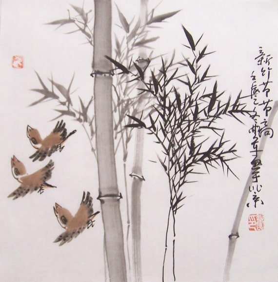 original chinese traditional painting bamboo painting ink ...