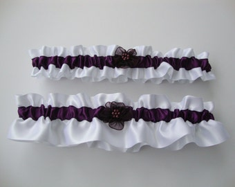 White Satin and Eggplant Wedding Garter Set, Bridal Garter, Prom Garter  (Your Choice, Single or Set)