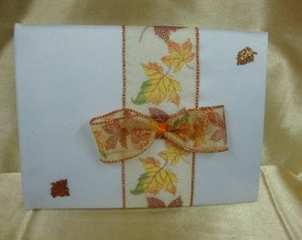 White Wedding Guest Book with Autumn Theme