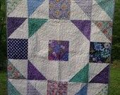 Terrain Baby Quilt -purple, blue, white, green, pink -- pattern also available