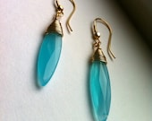 Teal Chalcedony Drop Earrings, Wire Wrapped in 14 KT Gold Filled Wire