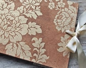 Boho Guest Book, Country Wedding, Vintage Guest Book, Tea Stained Floral, {MADE upon ORDER}