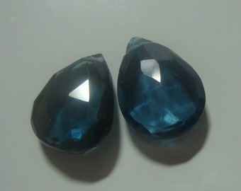 Genuine London Blue Topaz Faceted Pear Briolette - 2 pcs - 12x9.7mm - J12-3p - 25% off