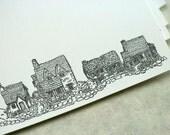 Letterpress note cards 10 pk - Cottages