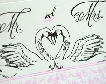 SALE - Letterpress Marriage card - Swan Love - 60% off