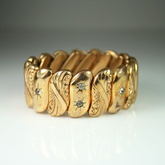 Antique bugbee and niles ornate gold tone rhinestone expansion for Bugbee and niles jewelry