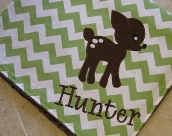 Personalized Baby Blanket- Chevron Baby Blanket- Minky Baby Blanket-  Chevron Minky Blanket- Deer Applique Baby Blanket- Custom Blanket-