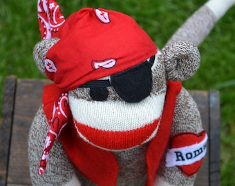 Sock Monkey Pirate dressed in Red Vest, Bandana, Eye Patch, Personalized Tattoo, Sock Monkey Doll