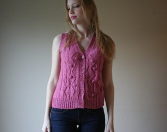 SALE 60s Knit Tank Vest / Prep School Waist Coat / Knubby Knit / Tank Top Sweater / Cardigan Sweater / button Up Sweater / Size Small-Medium