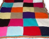 CLEARANCE Patchwork Blanket Colorful Squares Afghan
