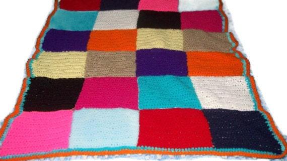 Patchwork Blanket Colorful Squares Afghan