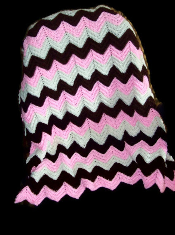 Neapolitan Ripple Baby Blanket Pink, White, and Brown