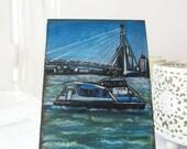 Dutch River Ferry Original ACEO: Miniature Art of Europe (Rotterdam, Netherlands) *Final Clearance*